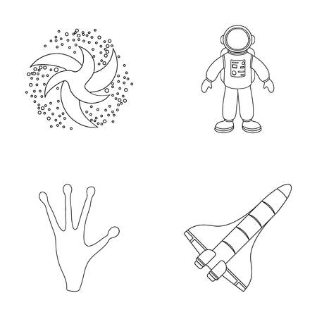 spacesuit: The alien s hand, the space shuttle ship Space Shuttle, the astronaut in the spacesuit, the black hole with the stars. Space set collection icons in outline style vector symbol stock illustration .