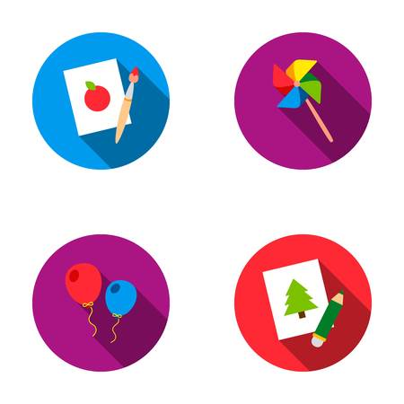 Pictures, a windmill, balloons. Tigers set collection icons in flat style vector symbol stock illustration .