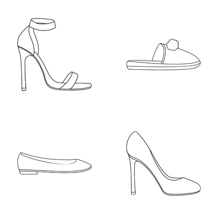 Blue high-heeled sandals, homemade lilac slippers with a pampon, pink women s ballet flats, brown high-heeled shoes. Shoes set collection icons in outline style vector symbol stock illustration . Illustration