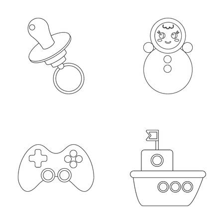 Nipple, doll tumbler, joystick, ship.Toys set collection icons in outline style vector symbol stock illustration .