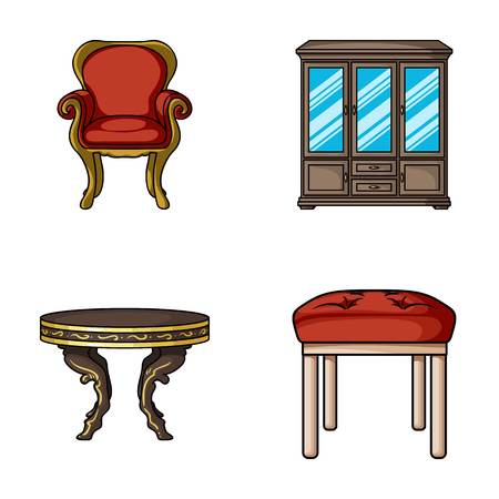 Furniture, interior, design, chair. Furniture and home interior set collection icons in cartoon style vector symbol stock illustration web.