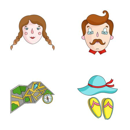 Travel, vacation, camping, map .Family holiday set collection icons in cartoon style vector symbol stock illustration web. 版權商用圖片