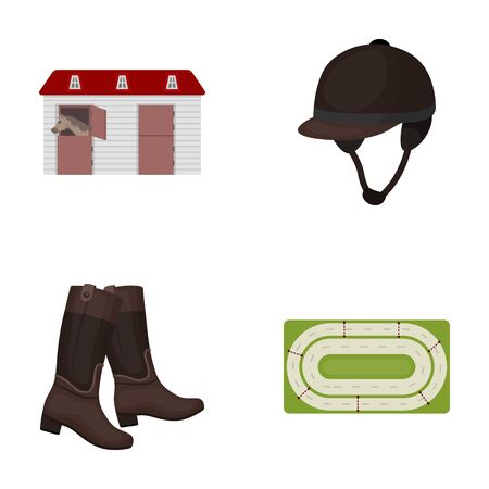 aviary: Boots, grass, stadium, track, rest .Hippodrome and horse set collection icons in cartoon style vector symbol stock illustration web.