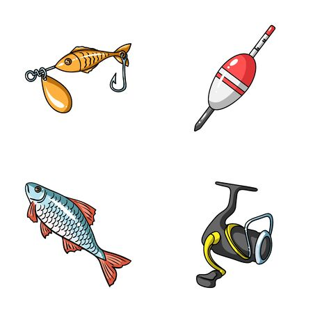 Fishing, fish, catch, hook .Fishing set collection icons in cartoon style vector symbol stock illustration web. Stock Photo
