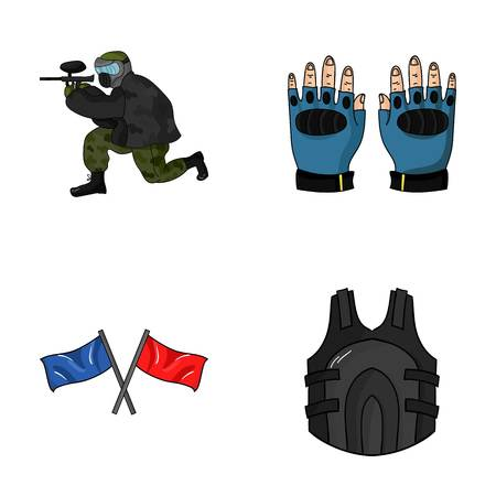paintball: Sport, game, paintball, competition .Paintball set collection icons in cartoon style vector symbol stock illustration web. Stock Photo
