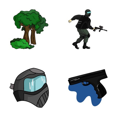 paintball: Mask, gun, paint, inventory .Paintball set collection icons in cartoon style vector symbol stock illustration web.