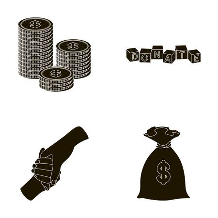 patronize: A pile of coins for donations, colored cubes with an inscription, a handshake, a bag of money for donations. Charity and donation set collection icons in black style vector symbol stock illustration web.