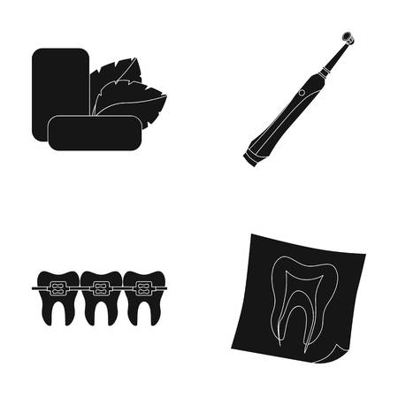 Mint chewing gum with mint leaves, toothbrush with bristles, bregettes with teeth, X-ray of the tooth. Dental care set collection icons in black style vector symbol stock illustration web. Illustration