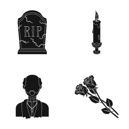A granite tombstone with an inscription, a mourning candle, a pasteur, a priest, mourning roses. Funeral ceremony set collection icons in black style vector symbol stock illustration web.