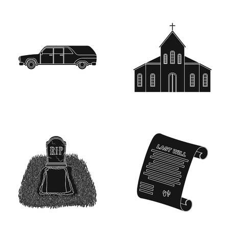 Black cadillac to transport the grave of the deceased, a church for a funeral ceremony, a grave with a tombstone, a death certificate. Funeral ceremony set collection icons in black style vector symbol stock illustration web.
