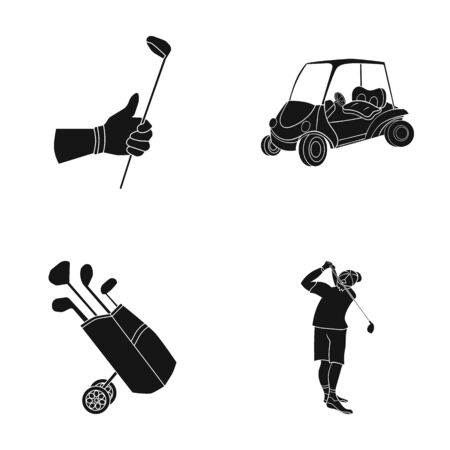 A gloved hand with a stick, a golf cart, a trolley bag with sticks in a bag, a man hammering with a stick. Golf Club set collection icons in black style vector symbol stock illustration web.