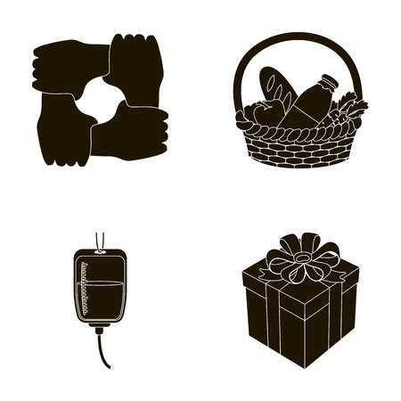 Gesture of the hands in support, a basket with food for charity, donor blood, a gift donation box. Charity and donation set collection icons in black style vector symbol stock illustration web.