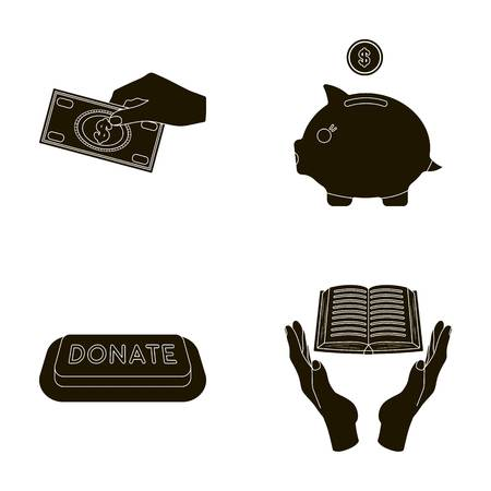 patronize: Hand with money for poshestvovaniya, a piggy bank for charity, a button with an inscription, a book for the blind in their hands. Charity and donation set collection icons in black style vector symbol stock illustration web. Illustration