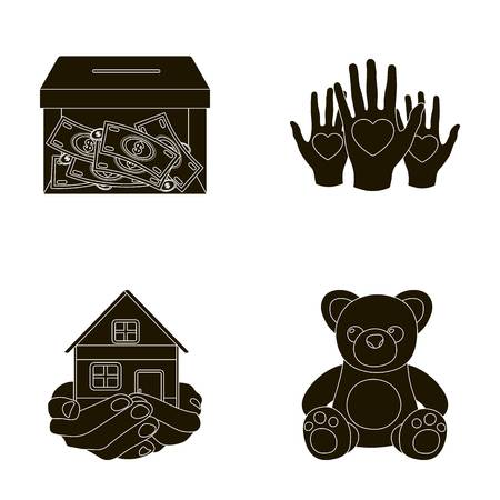 patronize: Boxing glass with donations, hands with hearts, house in hands, teddy bear for charity. Charity and donation set collection icons in black style vector symbol stock illustration web.