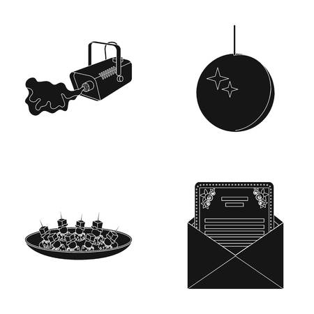 plate camera: A video camera with smoke, a twirling holiday ball, a plate of sandwiches, an envelope with a greeting card. Event services set collection icons in black style vector symbol stock illustration web.