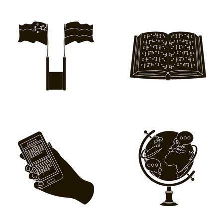 Twee vlaggen, een blindboek, een hand met een telefoon met vertaalde tekst, een bol van de aarde. Tolk en vertaler vastgestelde inzamelingspictogrammen in het zwarte Web van de de voorraadillustratie van het stijl vectorsymbool.