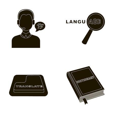 Een vertaler in hoofdtelefoons, een vergrootglas met vertaling, een knop met een inscriptie, een boek met een bladwijzer. Tolk en vertaler vastgestelde inzamelingspictogrammen in het zwarte Web van de de voorraadillustratie van het stijl vectorsymbool.