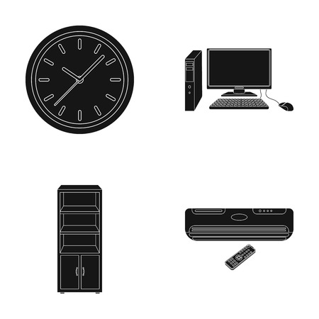 Clock with arrows, a computer with accessories for work in the office, a cabinet for storing business papers, air conditioning with remote control. Office Furniture set collection icons in black style vector symbol stock illustration web.