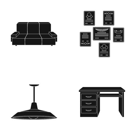 Comfortable sofa, letters and diplomas within the framework, an office ceiling lamp, a desk with drawers. Office Furniture set collection icons in black style vector symbol stock illustration web. Иллюстрация