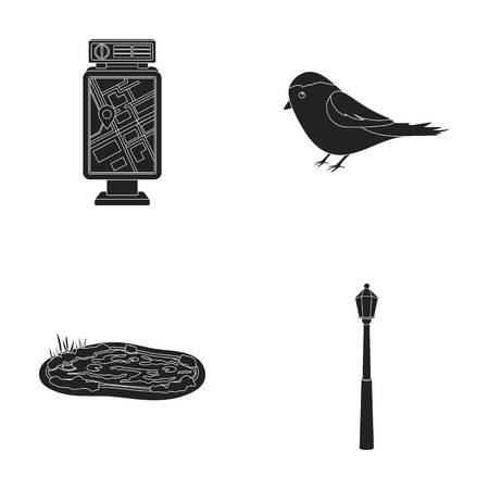 Territory plan, bird, lake, lighting pole. Park set collection icons in black style vector symbol stock illustration web. Illustration