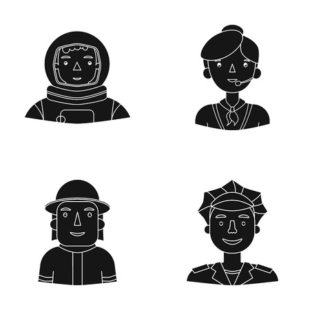An astronaut in a spacesuit, a co-worker with a microphone, a fireman in a helmet, a policeman with a badge on his cap. People of different professions set collection icons in black style vector symbol stock illustration web.