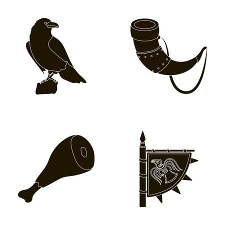 Sitting crow, horn with drink, ham, victory flag. Vikings set collection icons in black style vector symbol stock illustration web.
