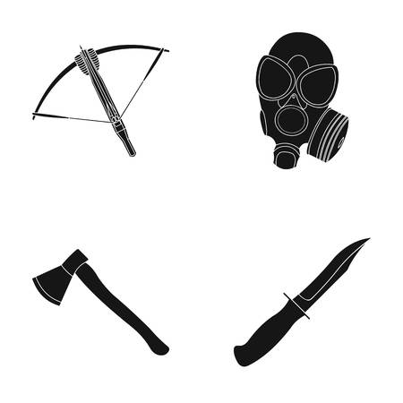 Crossbow, gas mask, ax, combat knife. Weapons set collection icons in black style vector symbol stock illustration web.