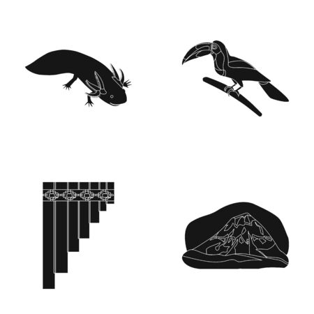 Sampono Mexican musical instrument, a bird with a long beak, Orizaba is the highest mountain in Mexico, axolotl is a rare animal. Mexico country set collection icons in black style vector symbol stock illustration web.