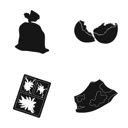 broken eggs: A garbage bag, a broken egg shell, a torn dirty T-shirt, a broken window frame with glass.Garbage and trash set collection icons in black style vector symbol stock illustration web. Illustration