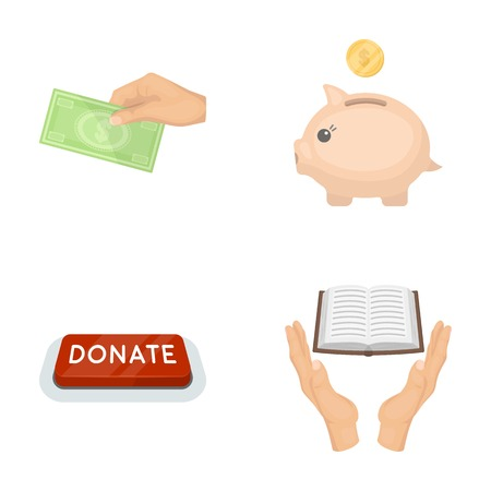 Hand with money for poshestvovaniya, a piggy bank for charity, a button with an inscription, a book for the blind in their hands. Charity and donation set collection icons in cartoon style vector symbol stock illustration web.