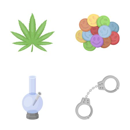 Hemp leaf, ecstasy pill, handcuffs, bong.Drug set collection icons in cartoon style vector symbol stock illustration web.