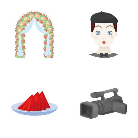 The arch is decorated with roses and silk, a clown in a cap, a plate with red napkins, a video camera. Event services set collection icons in cartoon style vector symbol stock illustration web.
