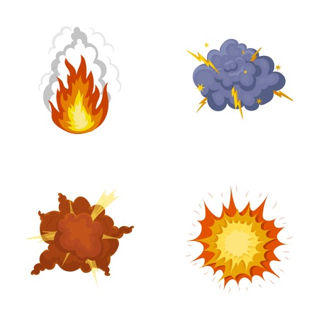 Flame, sparks, hydrogen fragments, atomic or gas explosion, thunderstorm, solar explosion. Explosions set collection icons in cartoon style vector symbol stock illustration web. Illustration