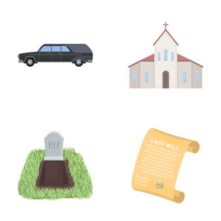 Black cadillac to transport the grave of the deceased, a church for a funeral ceremony, a grave with a tombstone, a death certificate. Funeral ceremony set collection icons in cartoon style vector symbol stock illustration web.