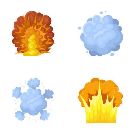 Flame, sparks, hydrogen fragments, atomic or gas explosion. Explosions set collection icons in cartoon style vector symbol stock illustration web.