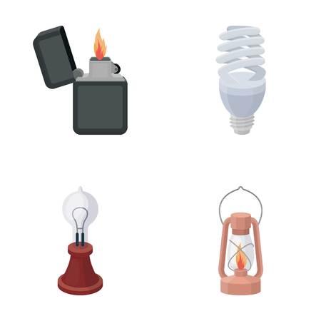 lamplight: Lighter, economical light bulb, edison lamp, kerosene lamp.Light source set collection icons in cartoon style vector symbol stock illustration web.