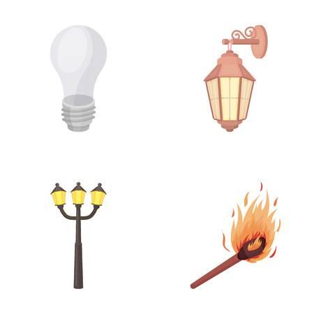 La lumière de LED, réverbère, allumette. La source lumineuse a placé des icônes de collection dans le style de bande dessinée vecteur stock symbole stock web. Vecteurs