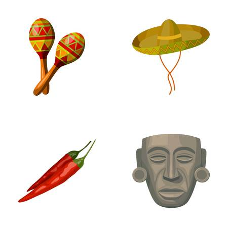 Maracas national musical instrument, sambrero traditional Mexican headdress, red pepper, bitter, idol-deity.Mexico country set collection icons in cartoon style vector symbol stock illustration web.