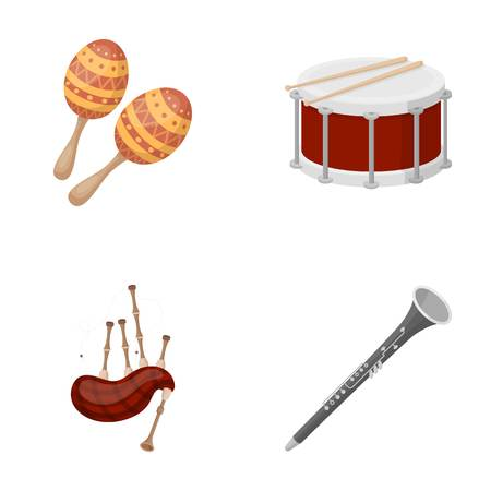 Maracas, drum, Scottish bagpipes, clarinet. Musical instruments set collection icons in cartoon style vector symbol stock illustration web.