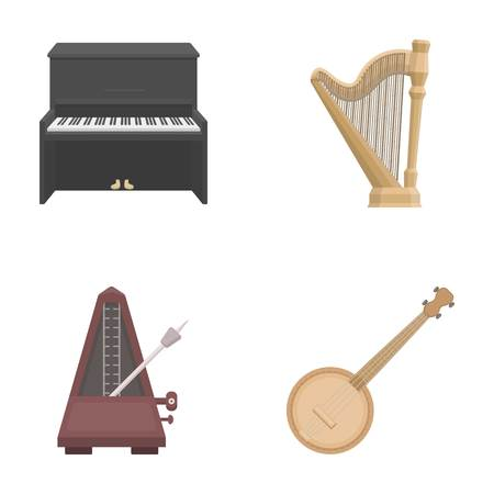 Banjo, piano, harp, metronome. Musical instruments set collection icons in cartoon style vector symbol stock illustration web.