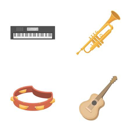 Electro organ, trumpet, tambourine, string guitar. Musical instruments set collection icons in cartoon style vector symbol stock illustration web. Illustration