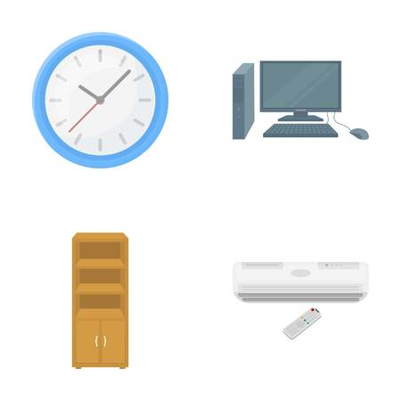door casing: Clock with arrows, a computer with accessories for work in the office, a cabinet for storing business papers, air conditioning with remote control. Office Furniture set collection icons in cartoon style vector symbol stock illustration web.