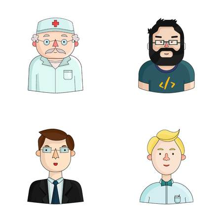 Doctor in a dressing-gown with a red cross on his head, a hacker with a beard in a T-shirt and glasses, a businessman in a tie, a waiter in a gastronome, a butterfly. People of different professions set collection icons in cartoon style vector symbol stoc Illustration