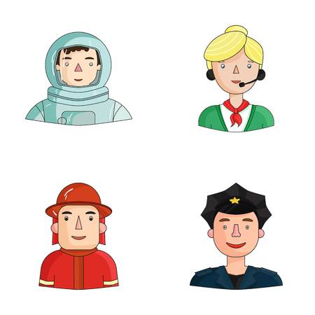 spacesuit: An astronaut in a spacesuit, a co-worker with a microphone, a fireman in a helmet, a policeman with a badge on his cap. People of different professions set collection icons in cartoon style vector symbol stock illustration web.