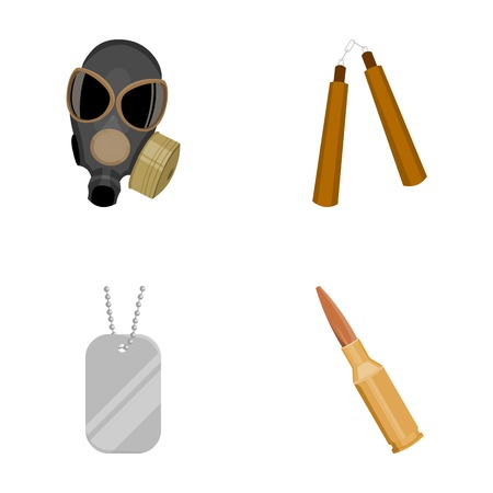 self  defense: Gas mask, nunchak, ammunition, soldiers token. Weapons set collection icons in cartoon style vector symbol stock illustration web.