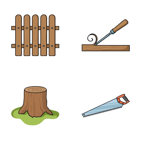 Fence, chisel, stump, hacksaw for wood. Lumber and timber set collection icons in cartoon style vector symbol stock illustration web. Illustration