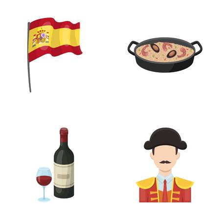Flag with the coat of arms of Spain, a national dish with rice and tomatoes, a bottle of wine with a glass, a bullfighter, a matador. Spain country set collection icons in cartoon style vector symbol stock illustration web. Illustration