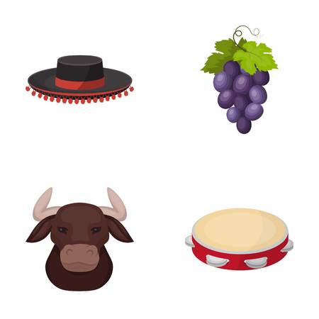 The hat of the todeador, the matador, a bunch of grapes with fists, a bull for the Spanish bullfight, a tambourine. Spain country set collection icons in cartoon style vector symbol stock illustration web.