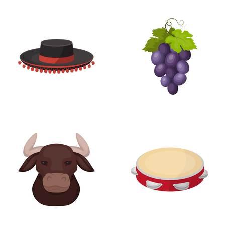 Todeador、マタドール、拳、ブドウの房、スペインの闘牛、タンバリンのための雄牛の帽子。スペイン国は、漫画スタイルのベクトル シンボル ストッ  イラスト・ベクター素材
