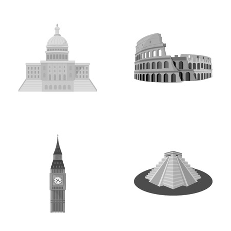 interesting: Building, interesting, place, coliseum .Countries country set collection icons in monochrome style vector symbol stock illustration web.